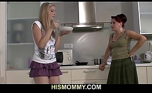 He finds his old mom fucking his young GF