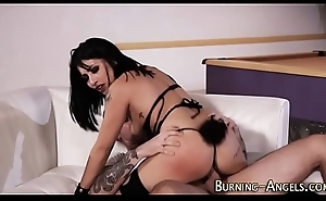 Lingerie goth gets team-fucked