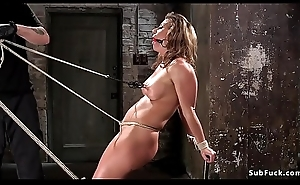 Busty babe crotch roped increased by hogtied