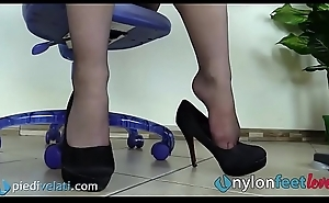 Amanuensis beside pantyhose shoeplay in this world the table