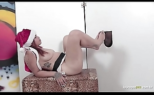 Laura gives footjob and blowjob in the gloryhole! Christmas foot fetish action!