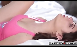 Pitch-dark babe fucks black stepdad