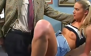 Schoolgirl with closely-knit marangos gets team-fucked hard in lots of poses