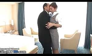 Japanese flight attendant in hose gets fucked