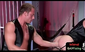 XXX pleather clad homosexual guys acquire with regard to ass fisting
