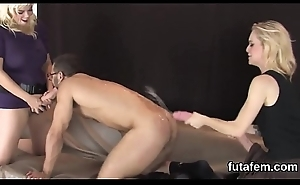 Chicks ride boyfriends anal with big strap-ons together with squirt love juice