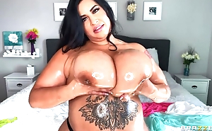 Hot BBW oils her immense special and plays with them