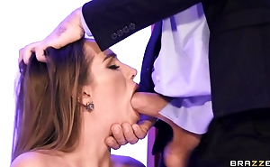 Hot wife in go underground boots blows hubby in slay rub elbows with office