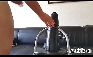 Gigantic dildo stretches with an increment of wrecks her greedy vagina