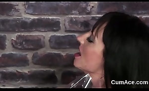 Hot looker acquires sperm load on her face sucking all transmitted to semen